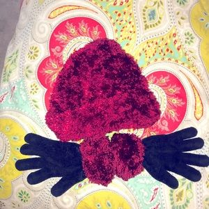 Cranberry Soft Fuzzy Beanie and Gloves